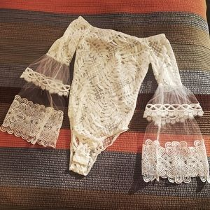 White Lacy Long Sleeve BodySuit *BRAND NEW*